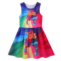 Argentina Nuevo vestido de las muchachas del verano vestido de Trolls para la muchacha de la princesa vestidos de fiesta de cumpleaños traje de Trolls para niños niños ropa talla 3-7T Suministro