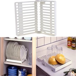 Wholesale pop shelf - 1Pcs Pop Flatware Dish New Cup Holder Hot Organizer Foldable Storage Kitchen Plate Shelf Drip Rack