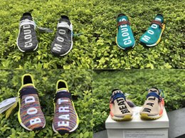 Wholesale Pw Blue - 2017 New With Box Mens and Womens Pharrell PW Human Race NMD TR Clouds Moon You Nerd Rainbow Sun Glow Running Shoes Size
