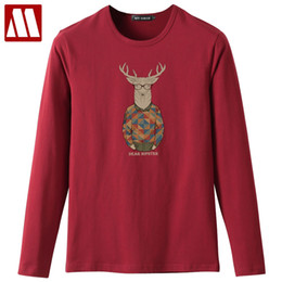 Wholesale Browning Deer Shirt - 2018 Fashion Printed Mens Fitness T Shirts Classic Deer Bambi Print Long Sleeve Funny tshirt Male Casual Tops Tees Plus Size 5XL