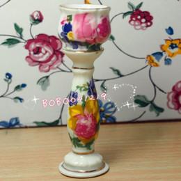 Wholesale Dollhouse Miniature Flowers - Dollhouse Miniature 2 pcs Porcelaine flower pattern flowerpot shelf H7cm L-303