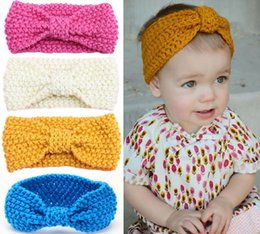 Wholesale Crochet Baby Head Band - Baby Headbands Girls Head wrap Hair Bands Ears Warmer Baby Headband Accessories Knit Crochet Top Knot Elastic Turban