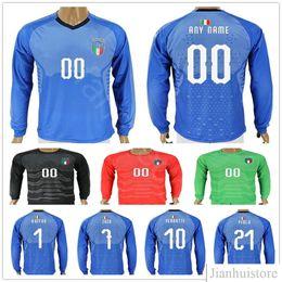 Wholesale italy home - 2018 World Cup Italy Long Short Sleeve Jersey BUFFON INSIGNE ZAZA EL SHAARAWY PIRLO IMMOBILE BONUCCI MARCHISIO Home Custom Soccer Shirt