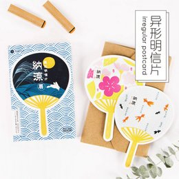 Wholesale Fans Messages - 30 pcs lot Cute Japanese fans postcard novelty heteromorphism greeting card christmas card birthday message gift cards