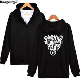 Wholesale korean zipper jackets hoodies - 2017 Fashion Twenty One Pilots Winter Zipper Sweatshirts Hoodie Men and Korean Kpop Hoodies Sweatshirt Men Winter Jacket Coat