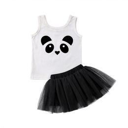 Ropa de panda de chicas lindas online-Pudcoco 2018 Nuevo Lindo Panda Kid Baby Girls Ropa 2 UNIDS Conjunto Sin mangas Tee Tops + Faldas de Tul Negro Summer Girls Clothing