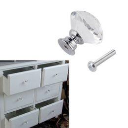 Puertas de vidrio del armario online-Diseño de forma de diamante Crystal Glass Knobs Armario Tire del cajón Cocina Gabinete Puerta Armario Manijas Hardware para Home Kitchen Drawer