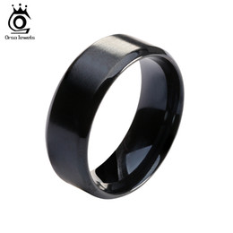 Wholesale Men Fashion Jewel - ORSA JEWELS 2017 New Fashion Stainless Steel Ring High Quality Black Color Wedding Rings for Men and Women OTR23