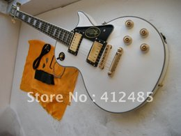 Wholesale Guitar Reissue - G custom shop 59 Reissue VOS KILLER TOP ebony white Electric guitar star on guard board white guitar with Golden hardware
