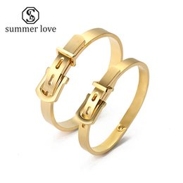 Wholesale Channel Belts - whole saleTitanium Steel Bracelet Bangle for Women Men Belt Cuff Love Manchette Bracelet Femme Bracelets & Bangles
