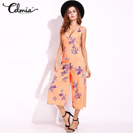 Wholesale Clothes Low Cut Sexy - Jumpsuit Women Sexy Night Club Party Clothing Rompers Backless Low Cut Deep V Neck Sleeveless Floral Fashion Casual Playsuit