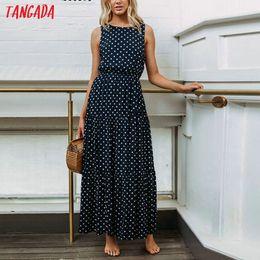 2019 vestiti da polka dot Tangada estate donne maxi vestito lungo stile  coreano polka dot dress 9a8f0ceb0da