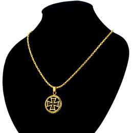 conjuntos de jóias de pérolas de platina Desconto Alemanha Cruz Medalha Círculo Rodada Colar de Pingente Alemão Cor de Ouro Cruz de Jóias Por Atacado