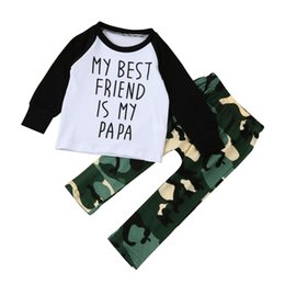 Wholesale Best Toddler Clothes - Fashion newborn toddler kids baby boys outfits clothes my best friend is my papa letter printed T-shirt Top+camo Pants 2pcs child kid set