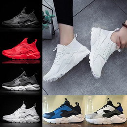 Wholesale Lace Up Winter Boots For Women - 2018 Air Huarache 4 Running Shoes For Mens Women Huaraches 1 Triple black white Red Runs Ultra Breathable Mesh Sports Sneakers Eur 36-45