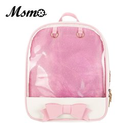 Wholesale lovely sweet heart - MSMO Kawaii Transparent Heart Window Lolita Student School Bag Backpack Candy Color Lovely Ita Bag Sweet Cute Girls Gift