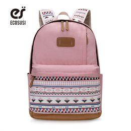bonitos mochilas laptop Desconto ECOSUSI Impressão Da Lona Mochila Mulheres Bonito Escola Backpacfor Meninas Adolescentes Do Vintage Bolsa Para Laptop Mochila Bagpack Feminino