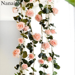 Wholesale fake vine decorations - Wholesale-180 cm High Quality Fake Silk Roses Ivy Vine Artificial Flowers With Green Leaves For Home Wedding Decoration Hanging Garland