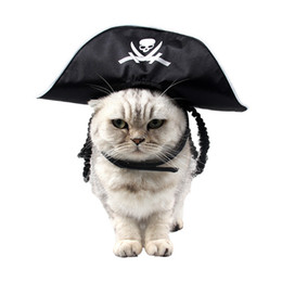 Pirate party supplies online-Cool Skeleton Pet Cat Dog Halloween Costume Cosplay Trendy Headwear Sombrero de pirata negro Cap Masquerade Holiday Party Party Gift Pet Supplies