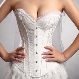 2019 korsettkleid baskes Großhandel Stahl Ohne Knochen Frauen Sexy Braut Hochzeit Korsett Bustier Basken Kleid Outfit S-XXL C32 rabatt korsettkleid baskes