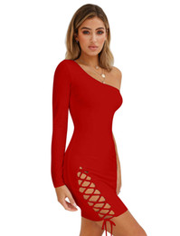 bded6adfa7 Fashion Women Clothes sexy bodycon tight dress night club one shoulder long  sleeve bandage strapless party dress strap dress royal blue