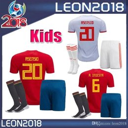 5171ffc05 kids Kits 2018 Spain soccer jersey 18 19 TORRES SERGIO RAMOS ISCO ASENSIO  youth child HOME AWAY football jerseys shirt Camiseta de futbol