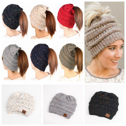 Wholesale high tails - CC Ponytail Hats Beanie Tail 8 Colors Soft Stretch Knit High Bun Ponytail Beanie Hat Knitted Crochet Skull Beanie 120pcs OOA3835