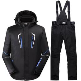 Wholesale Orange Snowboarding Jackets - -35 New black Men snow suit sets Outdoor Snowboarding Clothing Waterproof winter costumes ski suit sets jackets + bibs pants