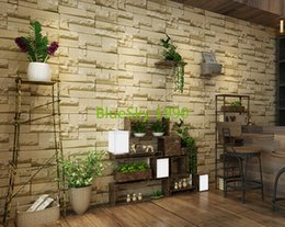 Wholesale Red Vinyl Wallpaper - Modern 3D wallpaper gray brick wall vinyl kitchen wall paper red brick paper yellow stone mural for TV Background