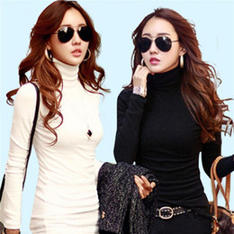 Wholesale White Blouses For Girls - Fashion Solid High Collar Turtleneck Long Sleeve Tops bottoming shirt For Women Girls Blusas Femininas Clothing Blouses Shirts
