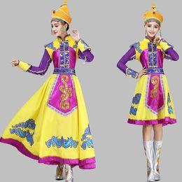 Vestuário violeta on-line-Chegada nova Violet vestido de ouro vestido Étnico Roupas de Dança Mongolian Senhoras roupas de palco Mongol Chinês traje de dança popular