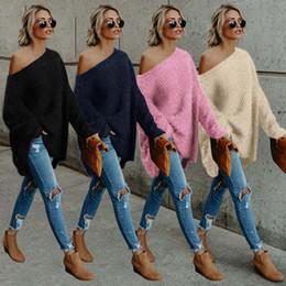Maglioni dalle spalle delle donne online-New Sexy Womens Ladies manica lunga Off Shoulder Knitted allentato maglione casuale maglione Top 4 colori 4 dimensioni