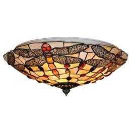 Lampes en verre vintage en Ligne-Européenne Vintage Vitrail Plafonniers Classique tiffanylamp Libellule Suspendus Lampes Salon Chambre Éclairage CL282