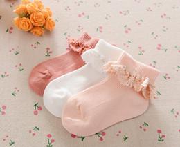 Wholesale Lace Ankle Socks Wholesale - Girls lace crochet falbala princess socks 3 colors children cotton knitting ankle socks 2018 spring new kids lace embroidery socks R1705