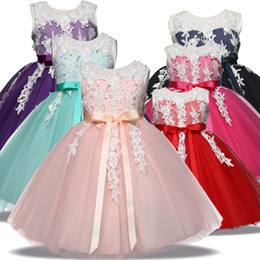 Wholesale Toddlers Evening Dresses - Kids Toddler Princess Dress for girls Outfits Children Festival Costume Formal Clothes Evening Wedding Party Gown Tutu Dress