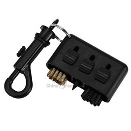 Wholesale groove cleaner - 3 in 1 Keychain Portable Golf Club Brush Groove Cleaner Tool