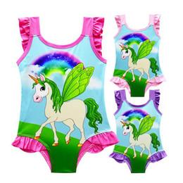 2019 traje de baño rosa una pieza 2018 6 diseño INS Unicorn Swimwear One Piece Bowknot traje de baño Bikini Big Kids Summer Cartoon Infant Swim Trajes de baño Ropa de playa