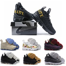 Wholesale Fingers Shoes - 2018 Lebron 15 Men Basketball Shoes Black Gold Sports lebron Shoes Mens Running Trainer Shoe High Quality James 15 Sneakers 40-46