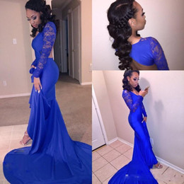 Wholesale Modern Fit Shirts - Royal Blue Sheer Long Sleeves Mermaid Prom Dresses Sexy Cutaway Side Backless Deeep V-neck Robe De Soirre Fitted Evening Party Gowns