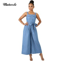 ea00a60e5029 Mutevole Wide Leg Denim Jumpsuit Women Casual Loose Strap Jumpsuits Jean Overalls  Front Button Backless Thin Jumpsuit with Belt