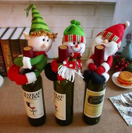 2019 chaquetas de santa Botella de vino tinto de navidad paño de Papá Noel muñeco de nieve muñeca mesa de comedor fiesta de Navidad botella chaqueta suministros de regalo chaquetas de santa baratos