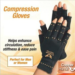 Wholesale Gloves Arthritis - Arthritis Gloves Copper Hands Men Women Black Copper gloves fitness Glove Therapeutic Compression gloves yoga Sports mittens polybag package