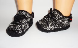 Wholesale blue baby booties - Baby crochet shoes first walkers infant soft booties sneakers sport tennis shoes mix design