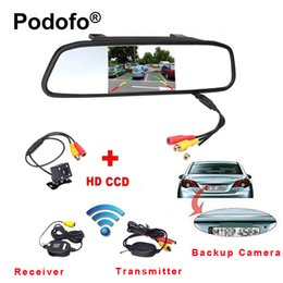"di backup telecamera posteriore wireless Sconti vendita all'ingrosso 4.3 ""TFT Rearview Mirror Car Rear View Camera HD Video Parking LED Night Vision CCD Backup Sistema di telecamere retromarcia"
