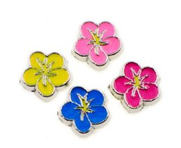 Wholesale Living Locket Wholesale - 20PCS lot Mix Colors Pretty Flower DIY Alloy Floating Locket Charms Fit For Glass Living Magnetic Memory Lockets