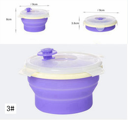 Wholesale collapsible storage containers - Round Silicone Folding Lunch Box Portable Food Storage Container Collapsible Crisper Camping Outdoor Bowls with Lids AAA49