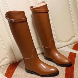 Wholesale Genuine Leather Long Boots - 2018 Best Selling Luxury Brand Women Shoes Genuine Leather H Buckled Winter Knee High Boots Plus Size 35-42 Fashion Long Booties Shoes