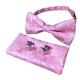 Wholesale Tie Cufflinks Handkerchief Set - Paisley bow Tie Jacquard Mens Necktie Gravata Hanky Cufflinks Set Pocket Handkerchief Mens bow Tie for Wedding TRAA0470