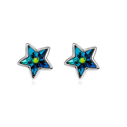 Wholesale White Gold Star Stud Earrings - New Five-pointed Star Pentagram Earrings Made With Austrian Crystals For Girls Valentine's Day Gift Free Shipping