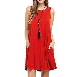 Wholesale Wholesale Women S Beach Clothing - New Summer Vest Dress Fashion Sexy Casual Women Dresses Sleeveless Beach Dress Short Chiffon BOHO Womens Clothing